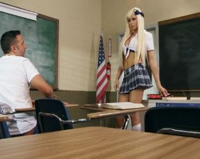 Hot girls Rikki and Raven get fucked in a classroom threesome