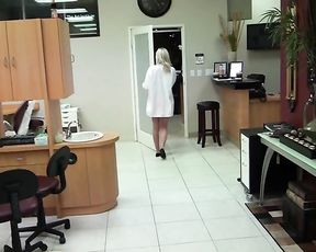Dude fucks a sexy dental assistant while the patient sleeps next to them