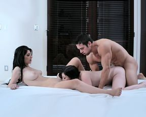 Jennifer and her boyfriend share a hot fuck with her best friend Karina
