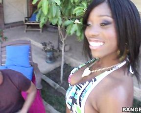 Hot Ebony babe with big tits and round butt gets fucked hard by the pool