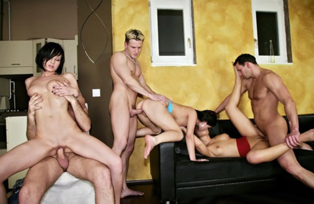 Three naked girls getting fucked hard by their studs in an orgy