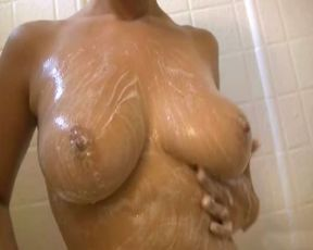 Ex-Girlfriend with big all natural bangers filmed by her boyfriend while taking a soapy shower