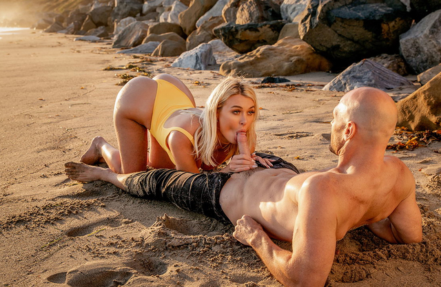 After giving her man a blowjob on the public beach, fat ass blonde with big tits rides him