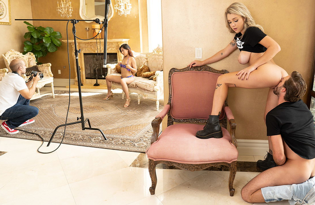Curvy blonde personal assistant with amazing big tits gets fucked behind the cameras