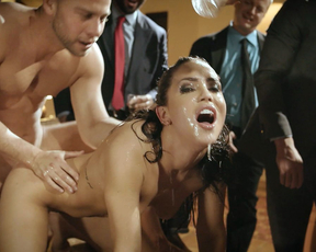 Escort lady turns into a cum slut in front of gowdy businessmen