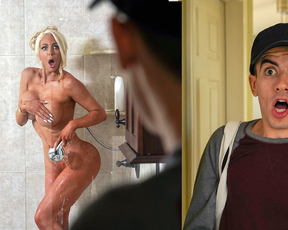 Beautiful naked woman seduced a paperboy after she caught him in her shower
