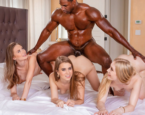 Three stunning college babes get their white pussies pounded by a huge black dick