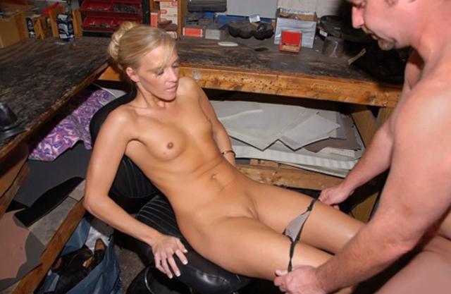 nude amateur in garage