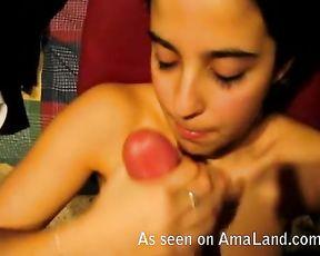 Naked girl enjoys sucking big dick