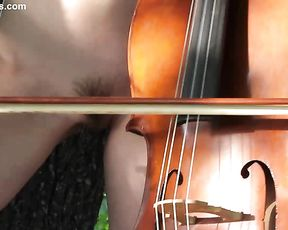 Naked girl with a bass viol is going to play amazing music in her erotic solo and shows hairy twat