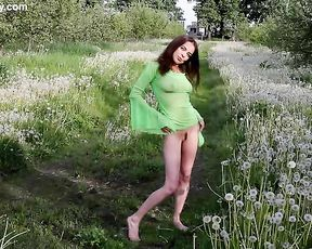 Naked girl shows off her nudity outdoors revealing her awesome ass and trimmed pussy