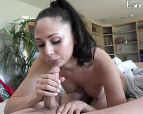 Naked brunette girl provides a super hot blowjob and gets pussy eaten