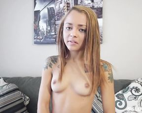 Naked tattooed girl with a tight body gets pleasure of sucking a cock in pov