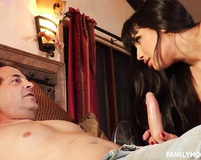 Big-assed slut girl in sexy lingerie treats a dude hard fucking him crazily
