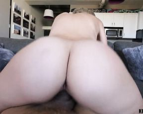 Naked blonde ends powerful fuck play with a big load on her fine ass