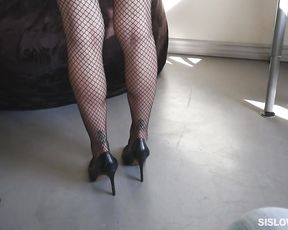 Slut girl in fishnet stockings and high heels boasts of her sucking skills
