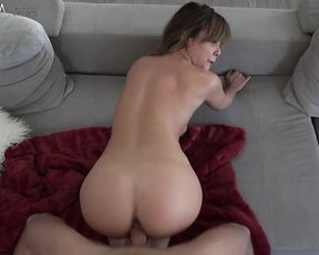 Busty slut girl gets drilled and then jerks off her lover's massive pecker