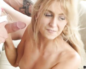 Active tattooed dude bangs wet pussy and horny mouth of his naked girl