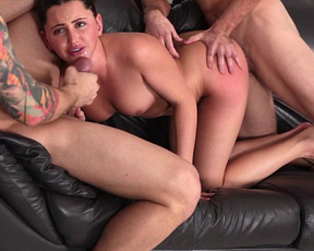 Naked girlfriend fucked by two hunks in rough scenes of home trio