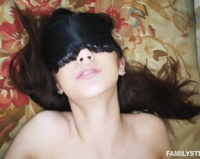 Teen rubs her naked pussy before being blond folded and fucked hard