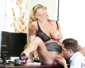 Sexy naked secretary fucked by her horny boss during the lunch break