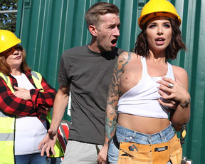 Cock-calling construction girl fucks this dude on the job site