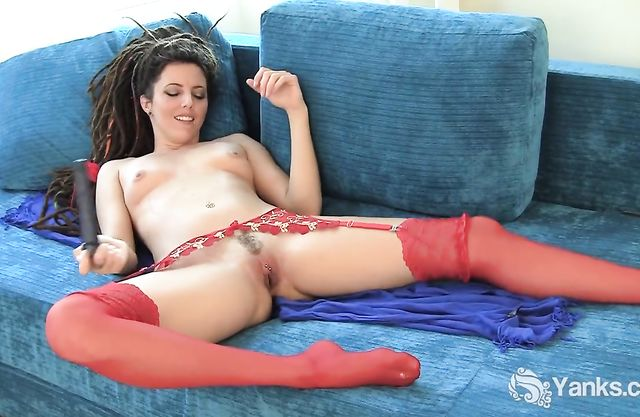 Amazing slutty girl in red nylon stockings drills her hot pussy and moans
