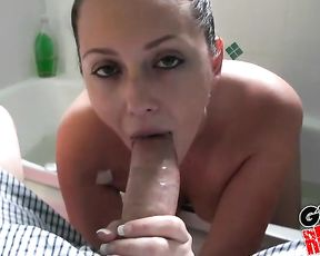 Smoking naked girlfriend gets down to cock sucking and does it really well