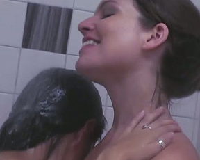 Hot naked lesbians play in a shower and then toy their amazing pussies