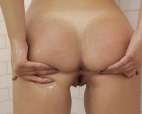 Sexy nude girlfriend kneels to suck cock while naked and aroused