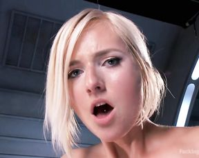 Impressive cock riding skills during solo for a naked blonde slut