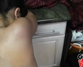 Naked brunette takes it up the ass after sucking it with passion