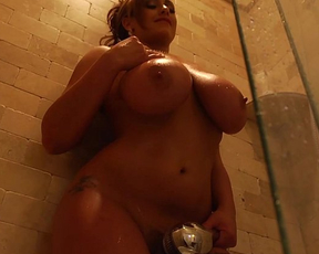 Blonde naked girl with huge boobs gets a tittyfuck then blows the guy