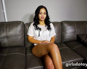 Ebony babe gets naked and does a solo masturbation scene for a casting