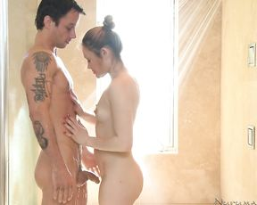 Petite naked girl gets her throat and pussy fucked in the shower by a stud
