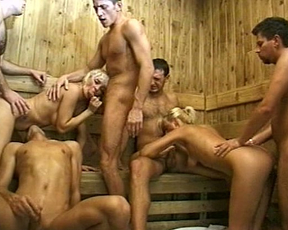 Naked girls and men have an orgy in the swimming pool and the sauna