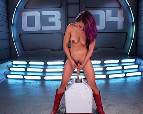 Naked asian teen gets the ride of her life on a hard fucking machine