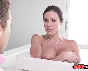 Son finds naked mother masturbating in the bathroom then fucks her mouth