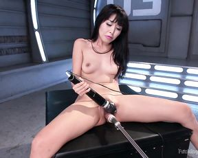 Naked Asian whore in exclusive fuck machine orgasmic scenes during a raw solo