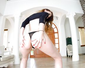Redhead pumps her tight ass with a big toy during a nude solo fantasy
