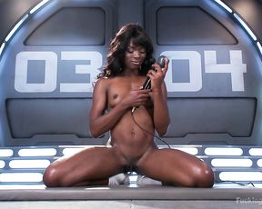 Nude ebony slut works her new toy all over the pussy and the tits
