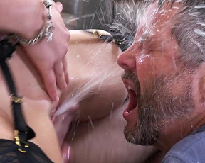 Dirty slut girl fucks with two lewd dudes in various positions and squirts