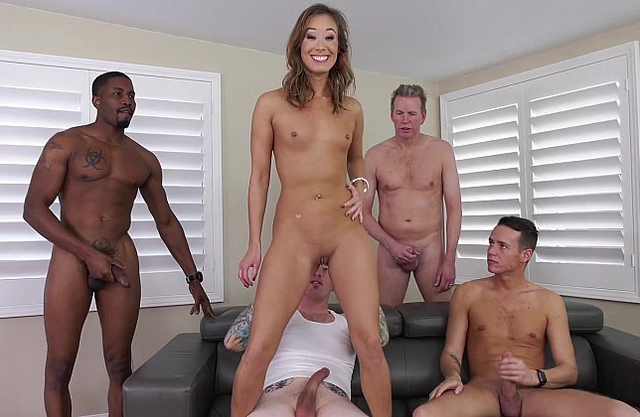 Awesome naked whore gets involved into a breathtaking gangbang party
