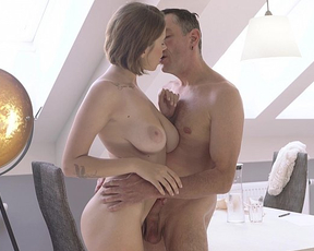 Very sexy naked girl enjoys having sex experience with a handsome guy
