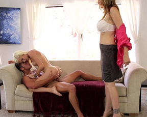 Petite blonde deep fucked in the pussy along side her naked mommy
