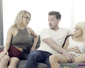 Young hunk gets ready to deep fuck both his girlfriend and her slutty mom