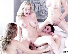 Group fuck in the family for a naked blonde milf and her daughters