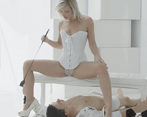 Gorgeous girl with bald pussy dominates her lover gets nicely licked