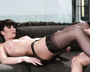Super gorgeous lesbian girls help each other get naked in a hot action