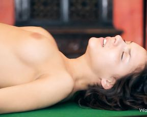 Naked girl gets fucked hardcore on the pool table by stud's black cock